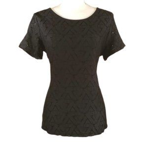 Andrew Marc Crocheted & Lined Black Blouse Size M
